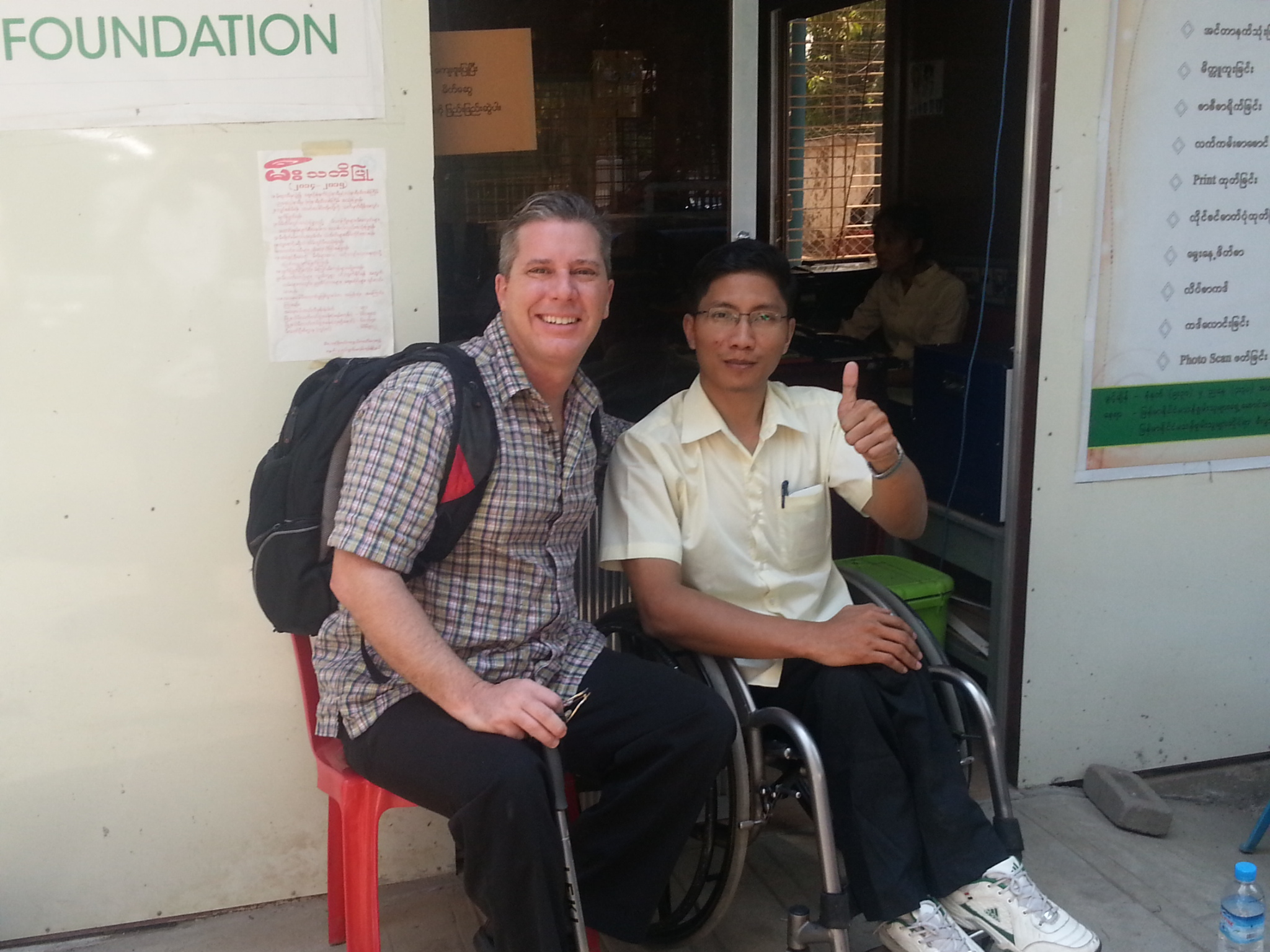 David Morrissey with Nay Lin Soe of Myanmar Independent Living Initiative