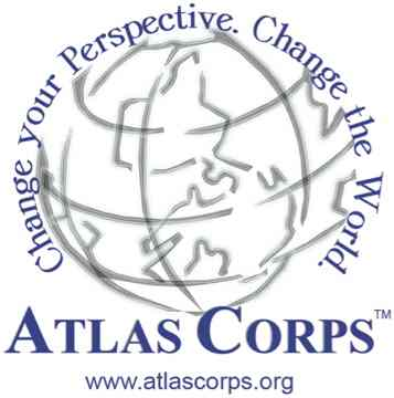 A globe made of gray ourlines with Atlas Corps in darl blue lettering around the edge