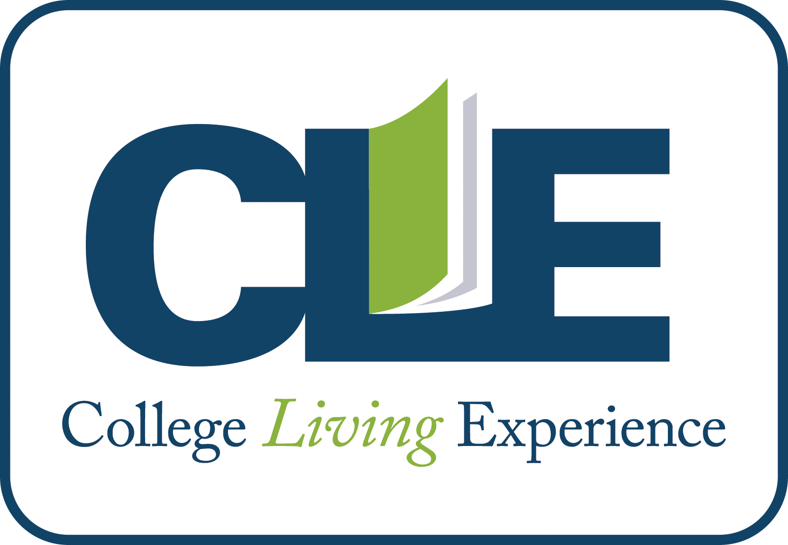 Logo shows the acronym CLE with a book inside the L then the full name College Living Experience