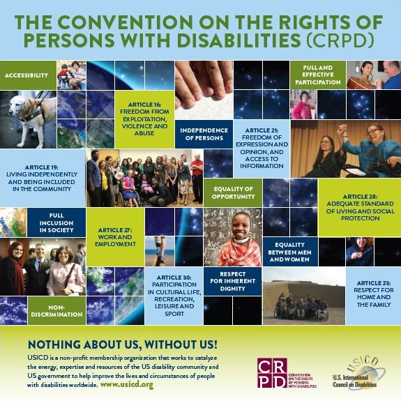 A square poster with photos of people with disabilities, members of the human rights community in a grid format.  Background is a photo of the earth and outerspace.