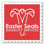 On what liiks like a red postage seal with a white border is the outline of a white flower with the words Easter Seals Disability Services