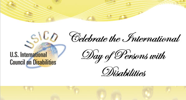 Banner with USICD Logo and words Celebrate the Internation Day of Persons with Disabilities