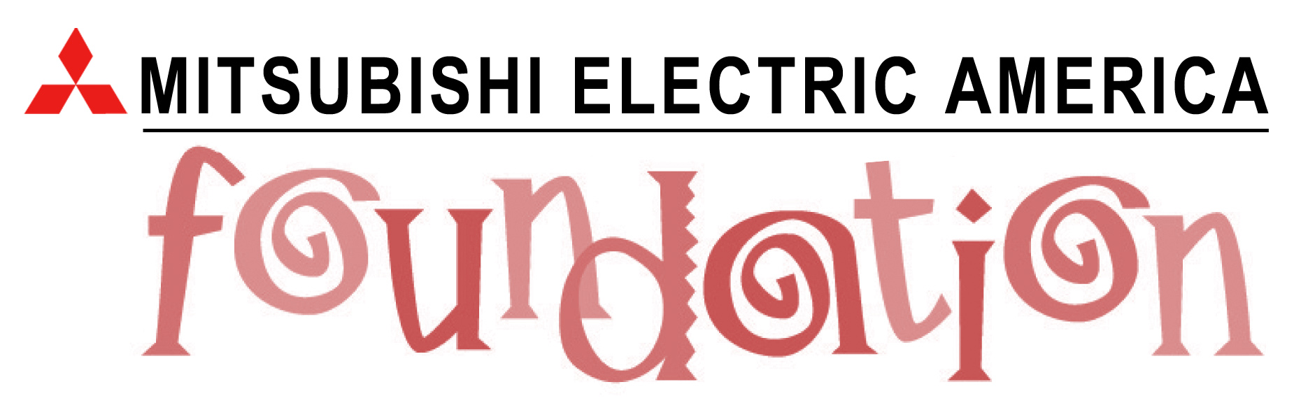 THe words Mitsubishi Electric Foundation in black above the lowercase letters meaf in salmon