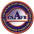 Logo for the Council of State Administrators of Vocational Rehabilitation with the name of the organization in yellow text around the inside of a blue circle and the acronym CASVR in the center